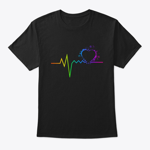 Pansexual Pride Heartbeat Lgbt Gay Pride Black T-Shirt Front