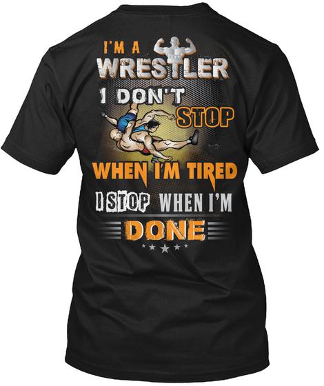 Awesome Wrestler Black T-Shirt Back