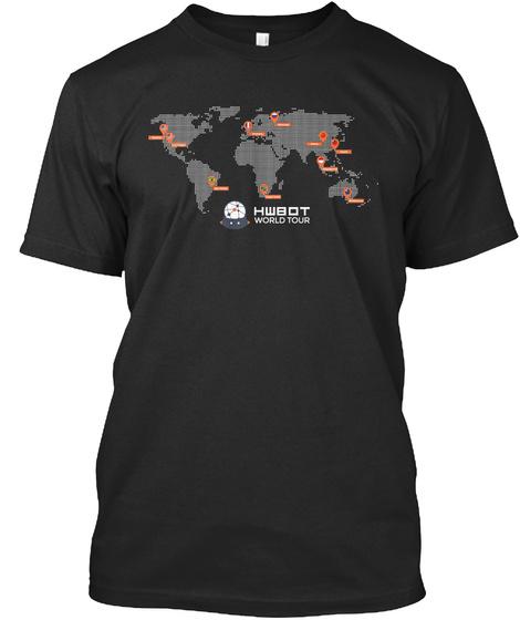 Hwbot World Tour   Map Dark Black T-Shirt Front