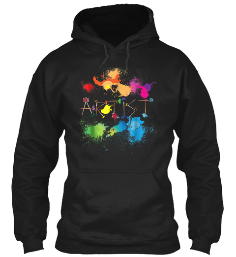 Artist Messy Painters Funny Paint Splatt Black T-Shirt Front