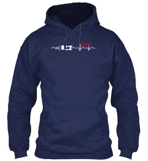 Quilt Heartbeat Shirt Navy T-Shirt Front