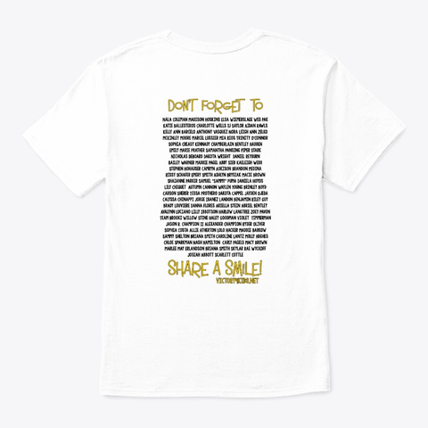 Victory4 Kids Nobody Fights Alone White T-Shirt Back
