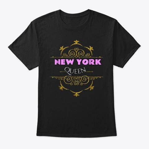 New York Queen Usa State T Shirt Black T-Shirt Front