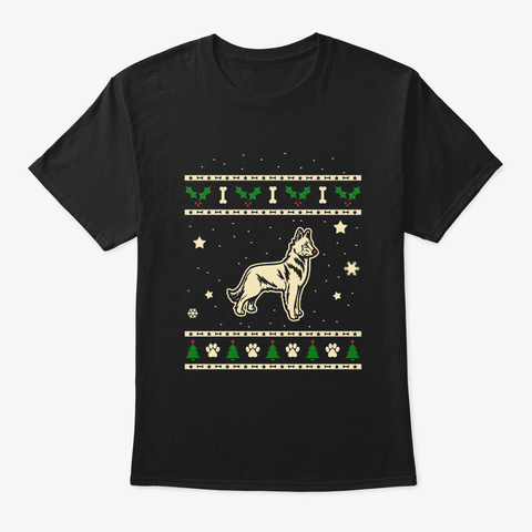 Christmas Belgain Malinois Shepherd Gift Black T-Shirt Front