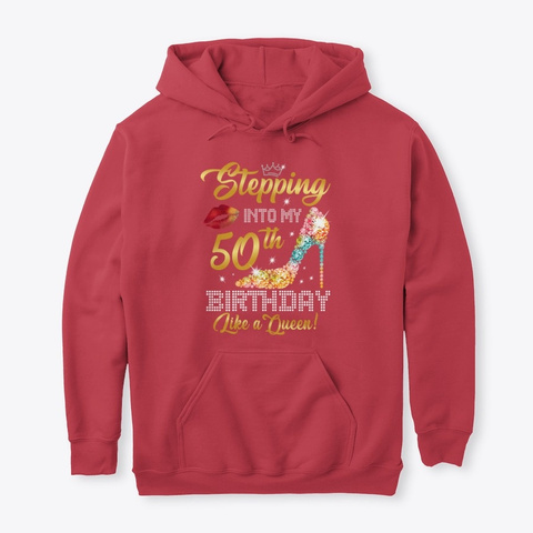 Stepping Into My 50th Birthday Shirt Cardinal Red T-Shirt Front