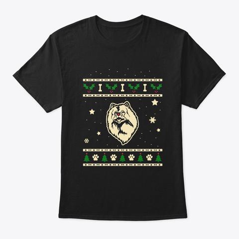 Christmas Keeshond Gift Black T-Shirt Front