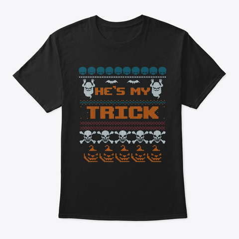 Ugly Halloween Couple's Design Black T-Shirt Front