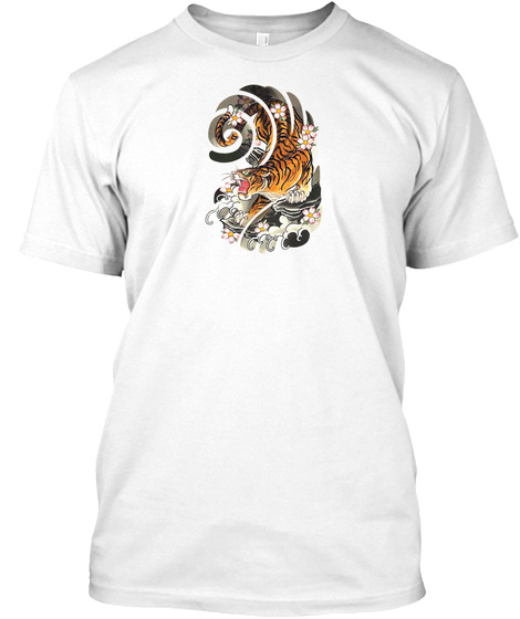 Japanese Tattoo Style Tiger Traditional  White T-Shirt Front
