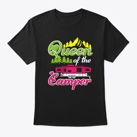 Queen Of The Camper Black T-Shirt Front