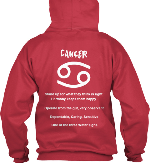 Cancer Hoodie Cardinal Red T-Shirt Back