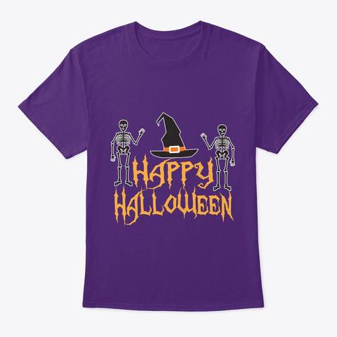 Happy Halloween T Shirt Purple T-Shirt Front