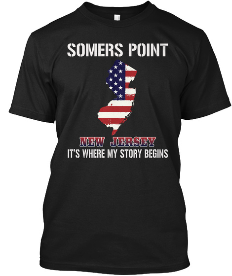 Somers Point Nj   Story Begins Black T-Shirt Front