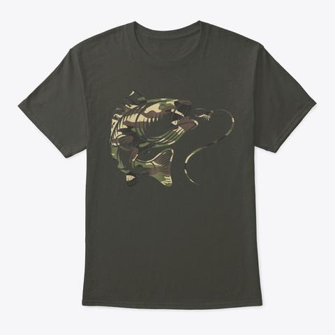 Camouflage Bass Fishing Angler Camo Smoke Gray T-Shirt Front