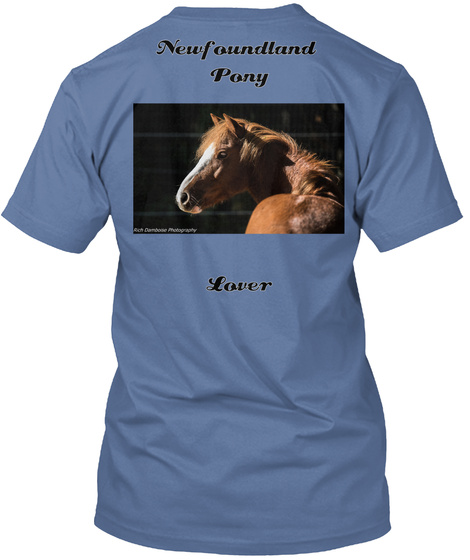 Newfoundland Pony Lover Denim Blue T-Shirt Back