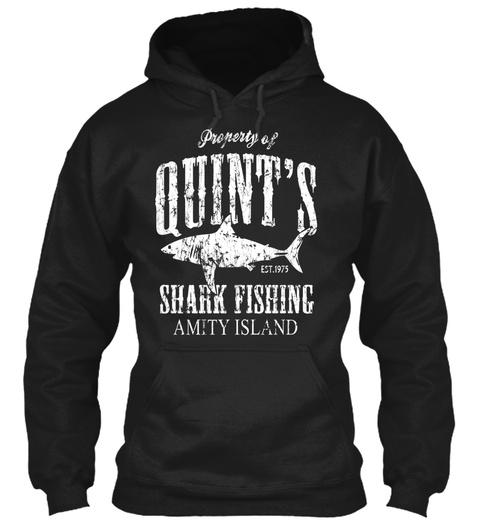 Quints Shark Fishing Amity Island Black T-Shirt Front
