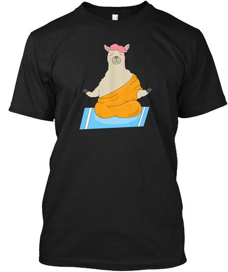 Llama Yuga Meditation Philosopher Comic Black T-Shirt Front
