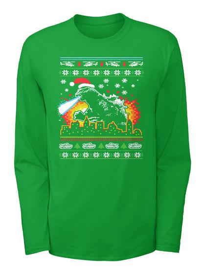 godzilla christmas sweater irish green long sleeve t shirt front
