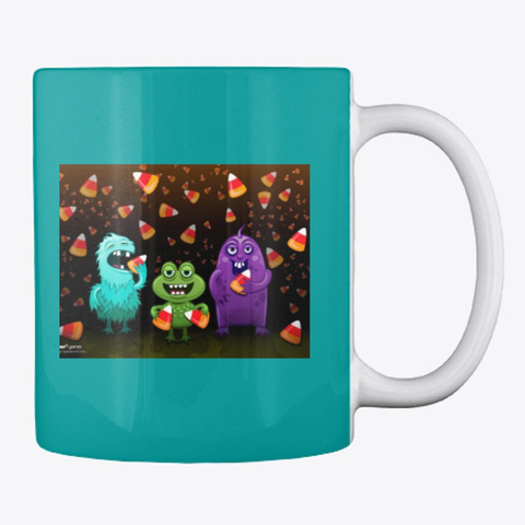 Halloween Mugs Aqua T-Shirt Back