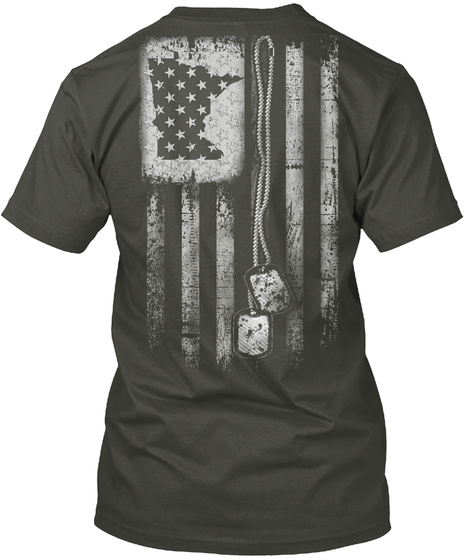 Minnesota Dog Tag Flag Smoke Gray T-Shirt Back
