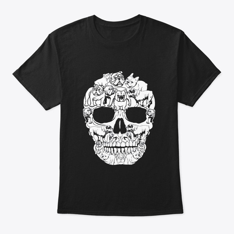 English Bulldog Dog Skull Shirt Black T-Shirt Front
