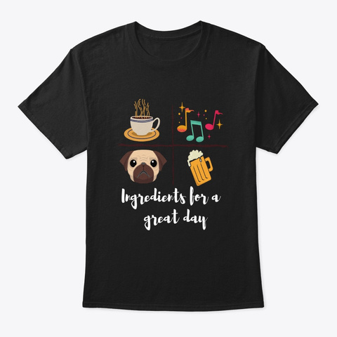 Coffee, Music, Dog & Beer Lover's Merch Black T-Shirt Front