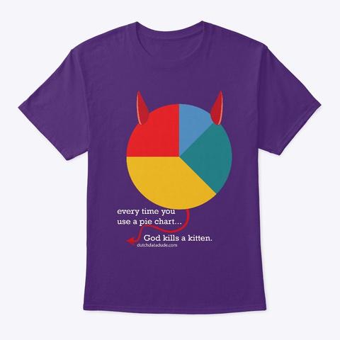 Evil Pie Chart Purple T-Shirt Front