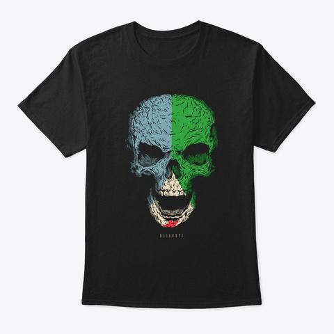 Skull Denmark Flag Skeleton Black T-Shirt Front