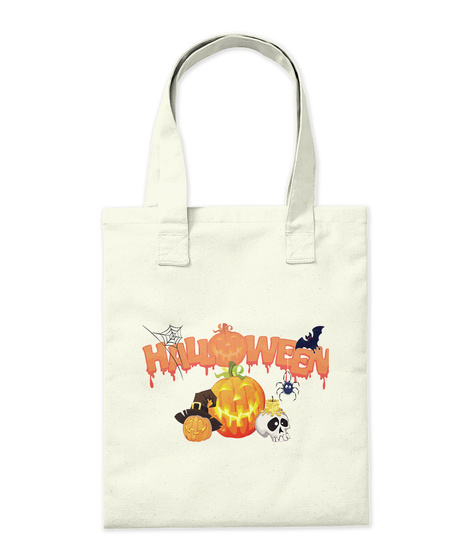 Halloween Trick Or Treat Tote Bag Natural Tote Bag Back