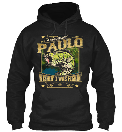 Paulo Fishing Gift Black T-Shirt Front