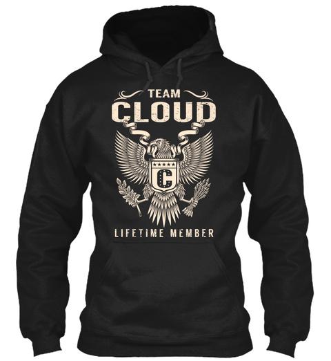 Team Cloud Lifetime Member Black T-Shirt Front