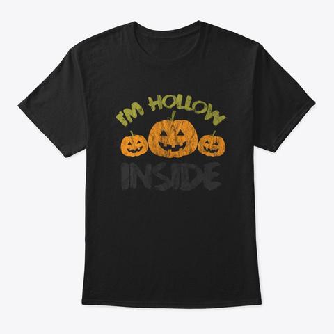 Hollow Inside Funny Retro Halloween Black T-Shirt Front