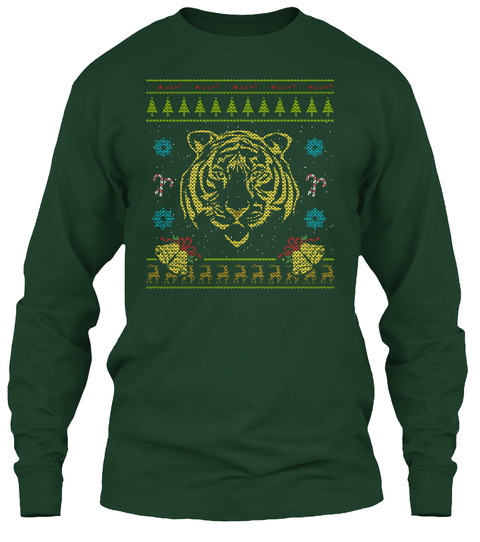 Tiger Christmas Ugly Sweater Design Forest Green T-Shirt Front