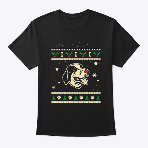 Christmas Large Munsterlander Gift Black T-Shirt Front