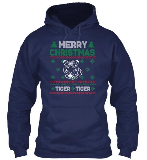 Cute Kids Tiger Christmas Ugly Christmas Navy T-Shirt Front