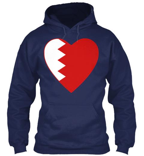 Bahrain Flag Heart Navy T-Shirt Front