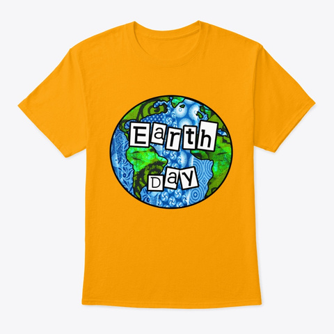 Earth Day Globe Gold T-Shirt Front