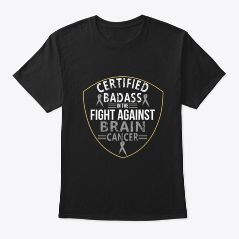 Fight Against Brain Cancer Awareness Black T-Shirt Front