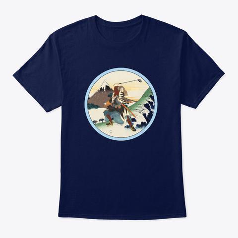 Saturday Samurai Golfer On The Green Navy T-Shirt Front