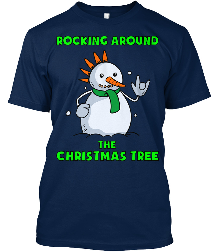 Snowman-Christmas-Ugly-Sweater-Rocking-Around-The-Tree-T-shirt-Elegant-S-5XL