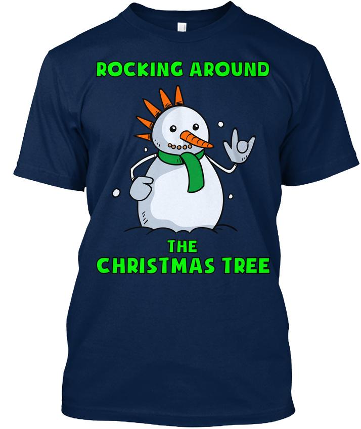 Snowman-Christmas-Ugly-Sweater-Rocking-Around-The-Tree-T-shirt-Elegant-S-5XL