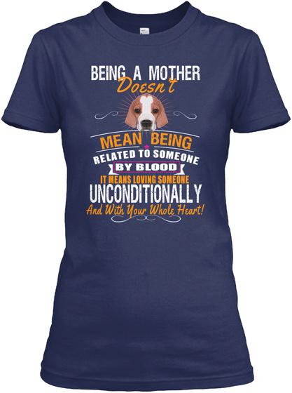 Being A Mother Love English Pointer Dog Navy T-Shirt Front