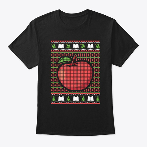 Funny Red Big Apple Teacher Christmas Ug Black T-Shirt Front