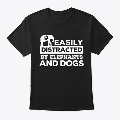Elephants And Dogs Black T-Shirt Front