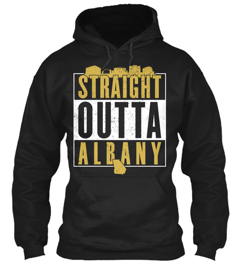 Straight Outta Albany  Black T-Shirt Front