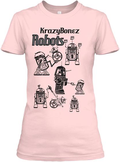Krazy Bonez Robots Light Pink T-Shirt Front