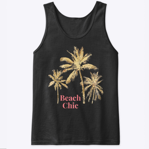Beach Chic With Palm Trees Black T-Shirt Front