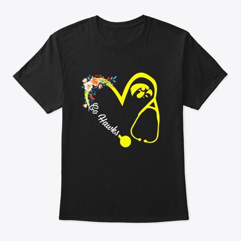 Iowa Hawkeyes Floral Nurse Stethoscope Black T-Shirt Front