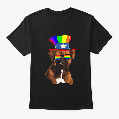 Boxers Gay Pride Lgbt Rainbow Flag Black T-Shirt Front