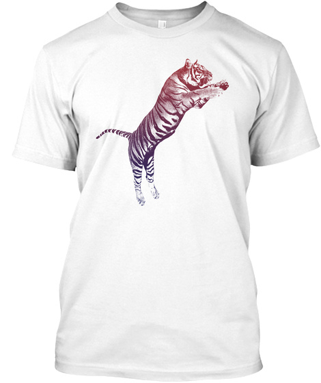 Design Vintage Style Tiger Tee White T-Shirt Front