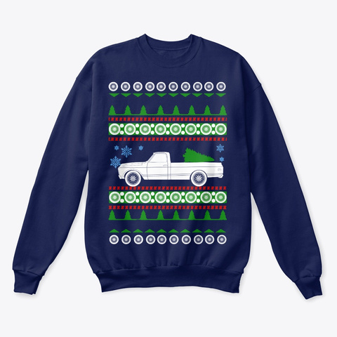 C10 Truck  Ugly Christmas Sweater Navy  T-Shirt Front